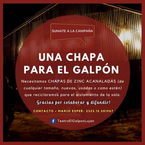 El Teatro El Galpón lanza una campaña para juntar chapas