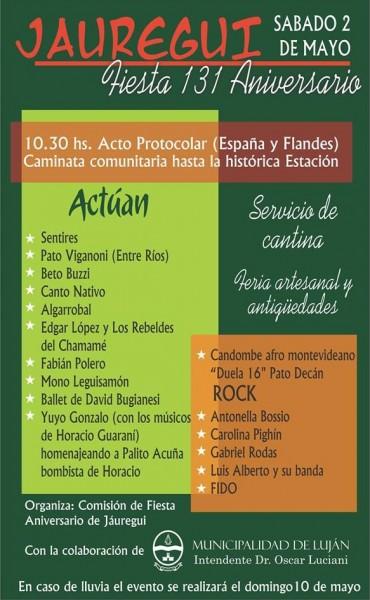 Se viene un gran festejo por los 131 años de la localidad de Jáuregui