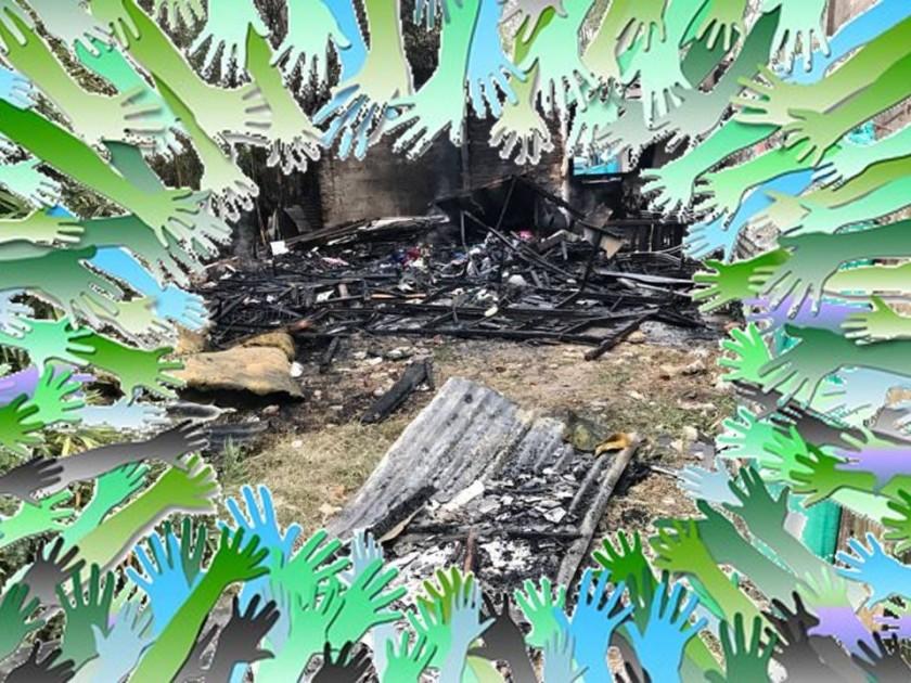 Solidaridad con familia que sufrió incendio en Parque Lasa