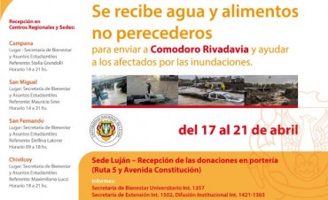 La UNLu recibe donaciones para Comodoro Rivadavia