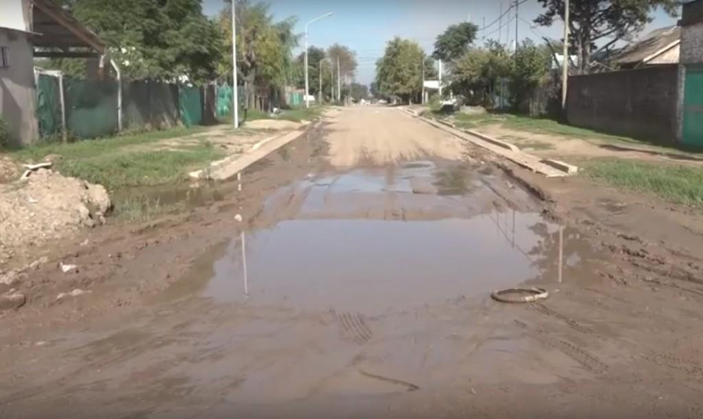 Complicaciones en el barrio Ameghino por las obras inconclusas