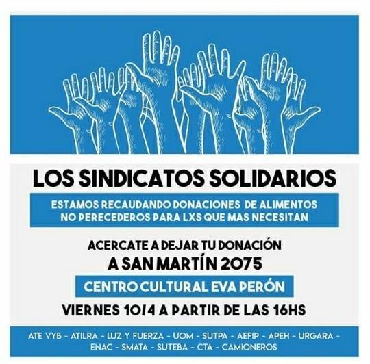 Sindicatos de Luján realizan una Colecta Solidaria