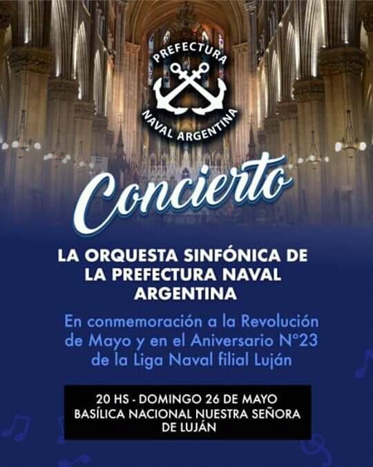 Se realizará un concierto de la orquesta sinfónica de Prefectura Naval, en la basílica