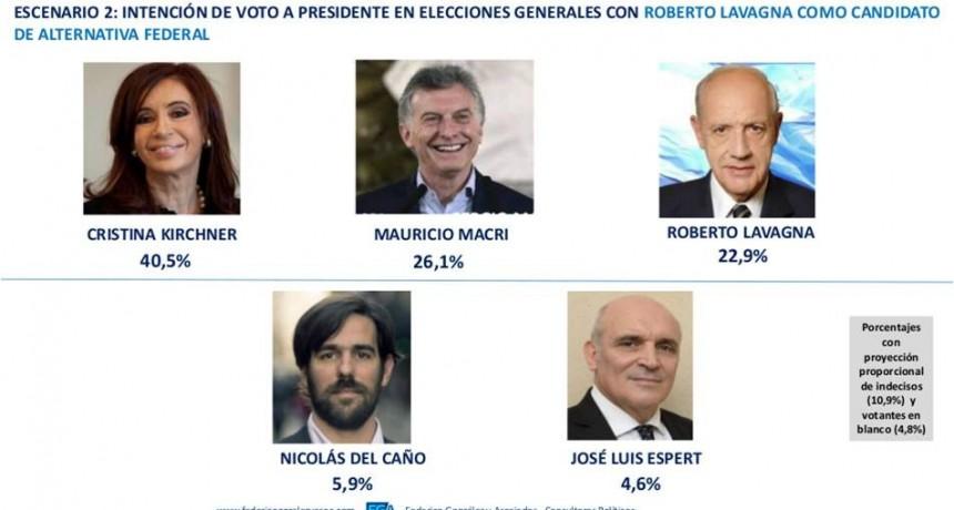 """""""Con Lavagna candidato de Alternativa Federal, Cristina ganaría en primera vuelta"""""""