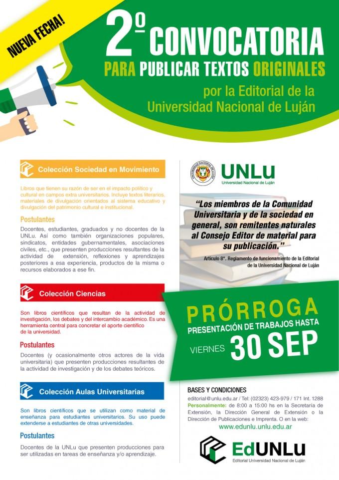 Editorial UNLu: Se extiende la fecha para presentación de textos