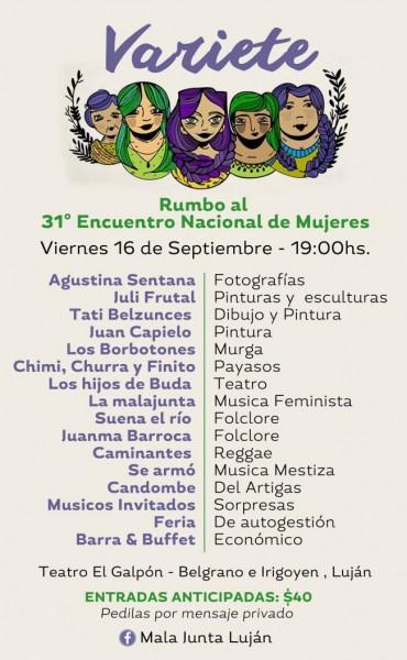 Varieté rumbo al 31º Encuentro Nacional de Mujeres