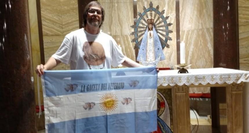 De la mano de un lujanense, la Virgen que estuvo en Malvinas regresó al país